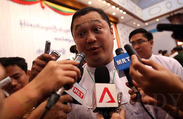 Tay Za talks to the media after President Thein Sein met with Burma's top tycoons earlier this year in Rangoon. (Photo: JPaing / The Irrawaddy)