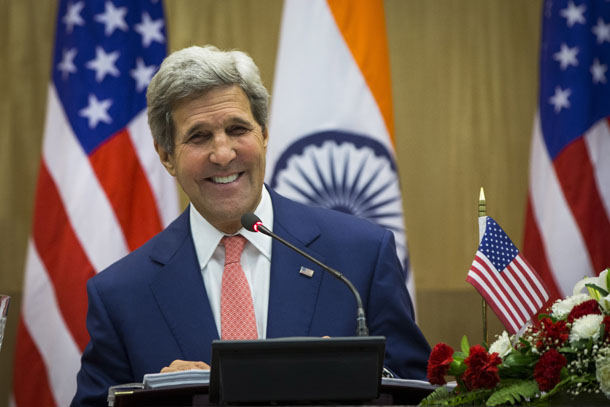 US Secretary of State John Kerry laughs as he answers a question while speaking to the media with Indian External Affairs minister, Sushma Swaraj, (not pictures) following their meeting in New Delhi July 31, 2014. (Photo: Reuters)