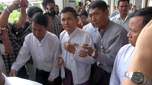 Hsan Hsint at Dhakhinathiri District Court on the first day of his trial. (Photo: The Irrawaddy)