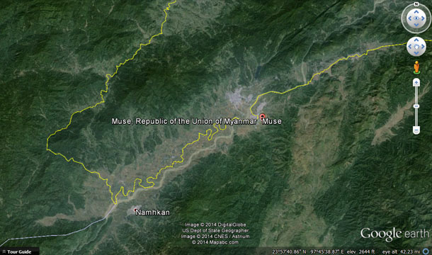 A map showing the Burma-China border in Namkham and Muse townships in northern Shan State. (Image: Google Earth)