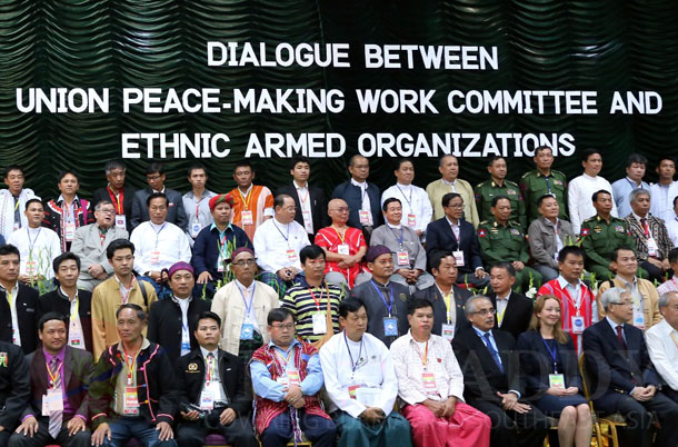 The government's peace negotiating team and leaders of ethnic armed groups meet in the Kachin State capital, Myitkyina, in November 2013. (Photo: JPaing / The Irrawaddy)