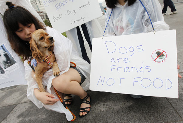 A high school animal rights activist holds a dog rescued from a dog meat farm as she performs with other activists during a protest against the eating of dog meat in central Seoul on Aug. 13, 2011. (Photo: Reuters / Jo Yong-Hak)