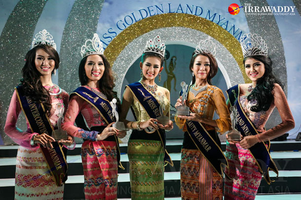 The five winners of the Miss Golden Land Myanmar Organization's competition on Thursday. (JPaing / The Irrawaddy)