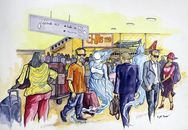 In Myanmar and elsewhere in Southeast Asia, ghosts are said to haunt airports, popping up everywhere from cockpits to arrivals halls. (Illustration: A.M. Two / The Irrawaddy)