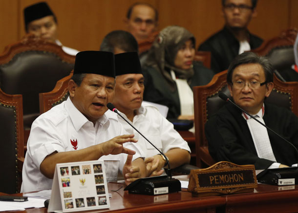 Indonesia's losing presidential candidate Prabowo Subianto addresses the Constitutional Court in Jakarta August 6, 2014. (Photo: Reuters)
