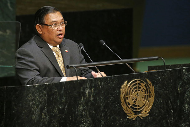 Burma'sMinister for Foreign Affairs Wunna Maung Lwin addresses the 69th United Nations General Assembly at the UN headquarters in New York on Sept. 29, 2014. (Photo: Reuters / Shannon Stapleton)