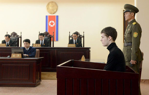 US citizen Matthew Todd Miller, second right, sits in a witness box during his trial at the North Korean Supreme Court in Pyongyang on Sept. 14, 2014, in this photo released by Kyodo. (Photo: Reuters / Kyodo)