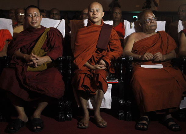 Buddhist monk U Wirathu, center, leader of the 969 movement, looks on as he attends a convention held by the Bodu Bala Sena (Buddhist Power Force) in Colombo, Sri Lanka, on Sept. 28, 2014. (Photo: Reuters)