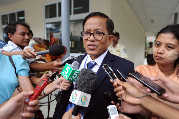 Nai Hong Sar, who leads the National Ceasefire Coordination Team, speaks to reporters at the Myanmar Peace Center in Rangoon on Monday. (Photo: Steve Tickner / The Irrawaddy)
