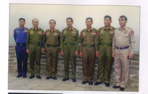 "This undated photo shows high-ranking members of the SPDC regime during a visit to the Great Wall of China. From left to right: Gen. Soe Thane (now President's Office minister), Gen. Thein Sein (current president), Gen. Soe Win (deceased), Vice Snr-Gen. Maung Aye (now retired), Gen. Shwe Mann (current Union Parliament Spear), Gen. Tin Aye (current election commission chairman), Gen. Myat Hein (now communications minister). (Photo: ""An Unexpected Long Journey,"" Myint Thu)"