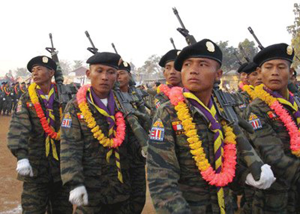DKBA troops parading in the Karen State in this file photo. (Photo: The Irrawaddy)