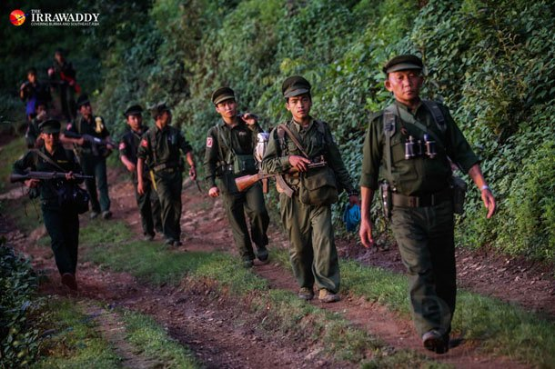 TNLA troops on the march in northern Shan State's Kyauk Mae Township. (Photo: JPaing / The Irrawaddy)