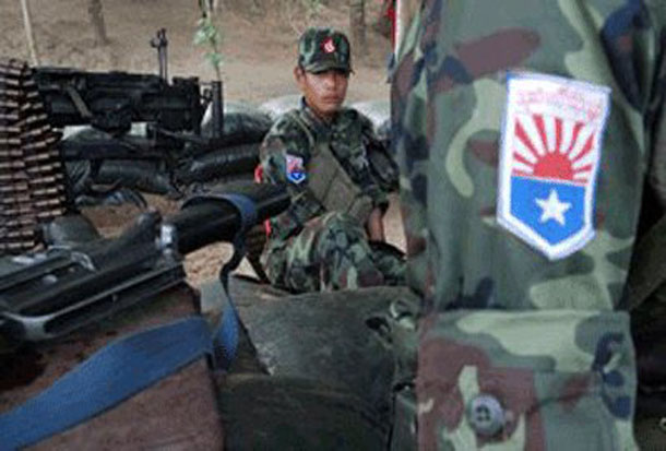 Karen National Liberation Army soldiers stationed at an outpost near the Thai-Burmese border. (Photo: The Irrawaddy)