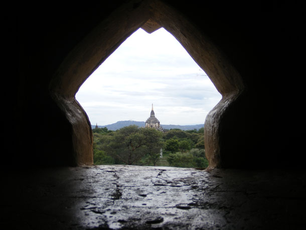 The Htilominlo temple in Bagan is framed from within another shrine in the complex. (Photo: Andrew D. Kaspar / The Irrawaddy)