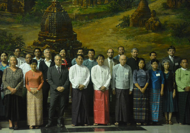 Unesco Country Representative Timothy Curtis (third from left) and Culture Minister Aye Myint Kyu (fourth from left) join international experts during a photo session at Bagan Museum on Sunday. (Photo: Paul Vrieze / The Irrawaddy)