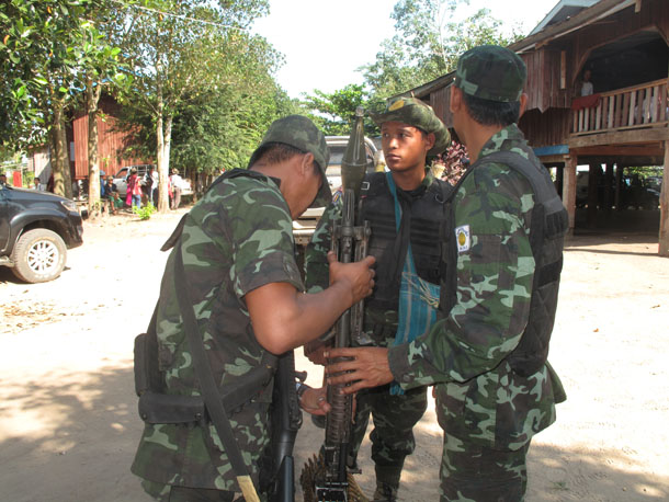 Soldiers from the Democratic Karen Benevolent Army at Sone Seen Myaing in Karen State. (Photo: Sai Zaw / The Irrawaddy)