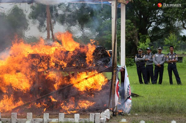 In June, Burmese authorities organized a drug-burning ceremony in Rangoon that destroyed a reported US$19 million worth of illicit drugs. (Photos: Hein Htet/ The Irrawaddy)