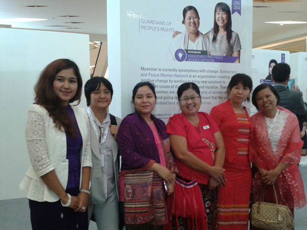 From right to left, Khin Khin Kyu, Ma Thandar and Naw Ohn Hla, along with Wai Wai Nu, far left, will receive awards for their peace advocacy. (Photo: Facebook / Sanda Thant)