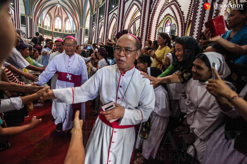 Burmese Catholic church leaders are welcomed by their congregation at St. Mary Cathedral in downtown Rangoon on Friday during the 500th year jubilee celebrations. (Photo: JPaing / The Irrawaddy)
