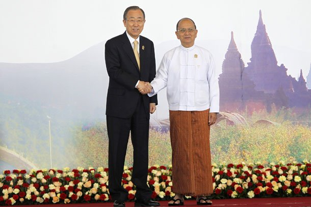 United Nations Secretary-General Ban Ki-moon shakes hands with Burma President Thein Sein as he arrives for the East Asia Summit (EAS) plenary session during the Asean Summit in Naypyidaw on Nov. 13, 2014. (Photo: Reuters)