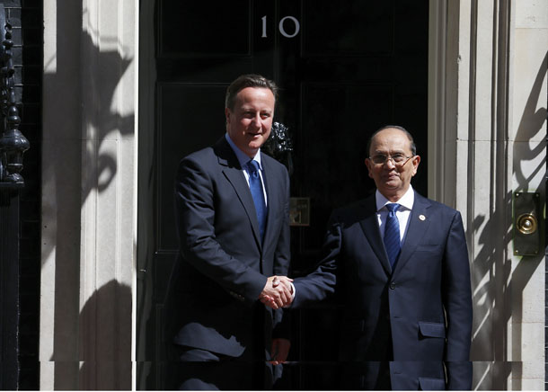 Britain's Prime Minister David Cameron greets Burma's President Thein Sein at 10 Downing Street in London on July 15, 2013. (Photo: Reuters)
