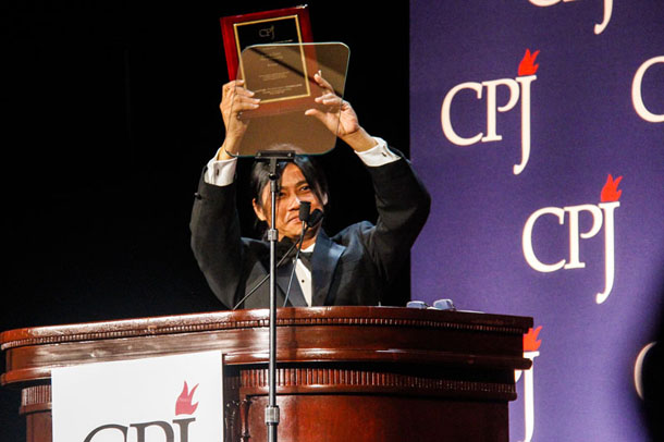 Aung Zaw, founding editor of The Irrawaddy Magazine, receives the International Press Freedom Award from the Committee to Protect Journalists in New York on Tuesday night. (Photo: Kyaw Phyo Tha / The Irrawaddy)
