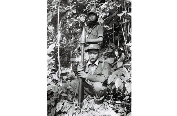Soldiers from the former National Socialist Council of Nagaland in Naga territory in Myanmar in 1985. (Photo: Hseng Noung Lintner)