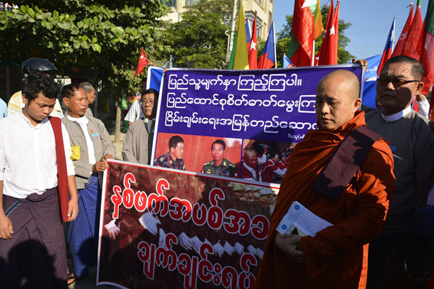 Protestors called for an end to conflict in Burma at a demonstration in Mandalay on Wednesday. (Photo: Teza Hlaing / The Irrawaddy)