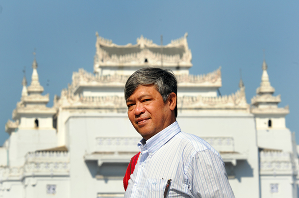 Win Cho, former political prisoner and renowned activist, will run for a seat in Rangoon's city administration. (Photo: Steve Tickner / The Irrawaddy)