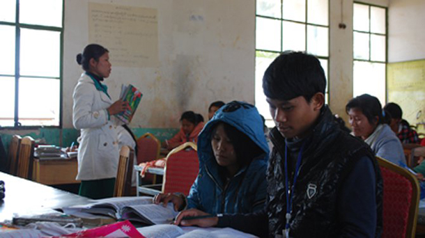 Students attend classes at a school in Mai Ja Yang, Kachin State. (Photo: Simon Roughneen / The Irrawaddy)