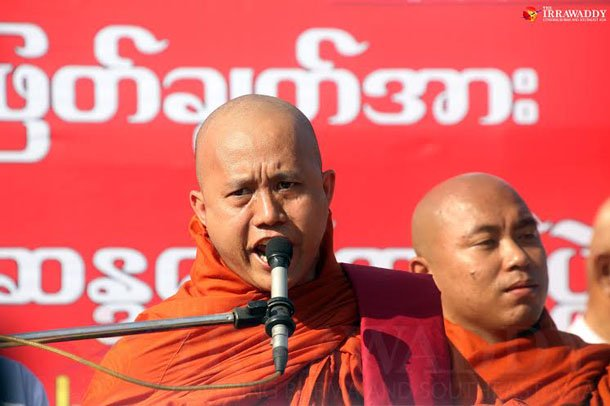 Nationalist monk U Wirathu lashes out at UN rights envoy Yanghee Lee during a speech on Dec. 16, 2014. (Photo: JPaing / The Irrawaddy)