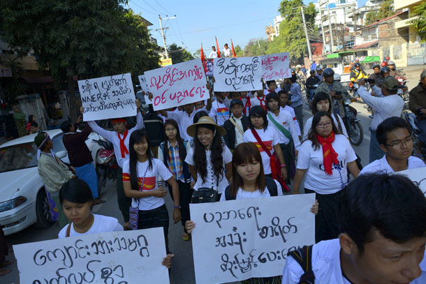 Students marching along 84th Street in Mandalay on Tuesday, at the beginning of their planned journey to Rangoon to protest the National Education Law. (Photo: Teza Hlaing / The Irrawaddy)
