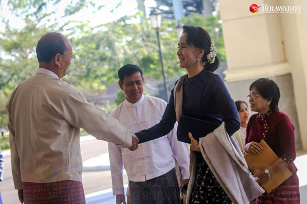 President Thein Sein shakes hands with opposition leader Aung San Suu Kyi before 48-party talks on Monday. (Photo: JPaing / The Irrawaddy)