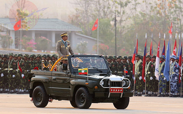 Army Chief Snr-Gen Min Aung Hlaing at a parade in Naypyidaw marking Armed Forces Day in March 2014. (Photo: JPaing / The Irrawaddy)