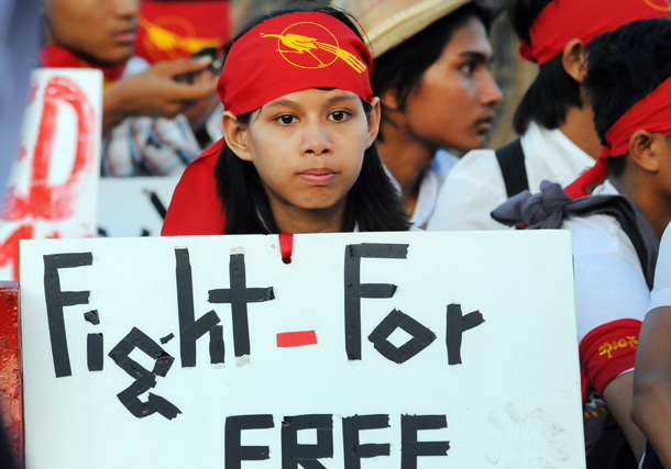 A student protesting against the National Education Law in Rangoon on Nov. 16. (Photo: Steve Tickner / The Irrawaddy)
