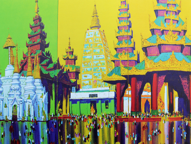A painting from one of several art exhibitions to be held next month in Rangoon. (Photo: Steve Tickner / The Irrawaddy)