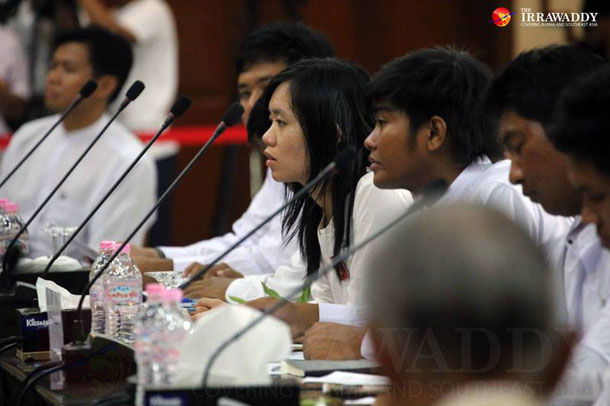 Students, educators, government ministers and lawmakers meet to discuss amendments to a controversial National Education Law in Rangoon on Feb. 1, 2015. (Photo: JPaing / The Irrawaddy)