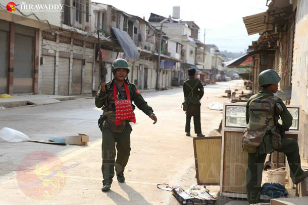 Burma Army troops patrol in the town of Laukkai, capital of the Kokang Self-Administered Zone, on Tuesday. (Photo: JPaing / The Irrawaddy)