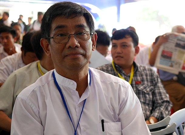 Thein Lwin a member of the National Network for Education Reform. (Photo: Tin Htet Paing / The Irrawaddy)