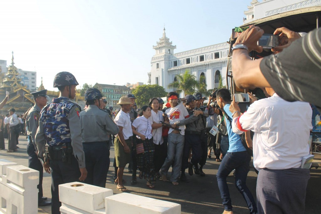 Police break up a protest in downtown Rangoon on Thursday. (Photo: Ko Min)