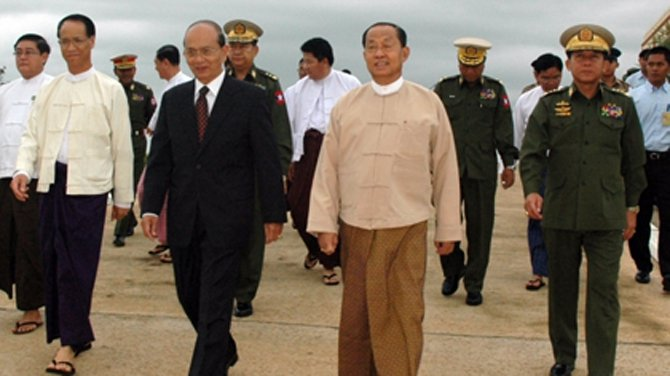 President Thein Sein, in dark suit, flanked by vice presidents Sai Mauk Kham, left, and Tin Aung Myint Oo, right, after returning from an overseas trip. At far right is Snr-Gen Min Aung Hlaing, the commander in chief of the Burma Army. (Photo: The Irrawaddy)