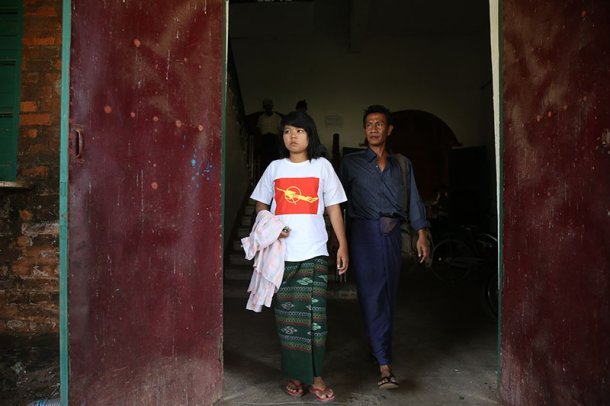 Yi Moh Moh Aung, a student at the Eastern University of Rangoon, is released from Tharyarwaddy Prison on March 12, 2015. (Photo: Hein Htet / The Irrawaddy)