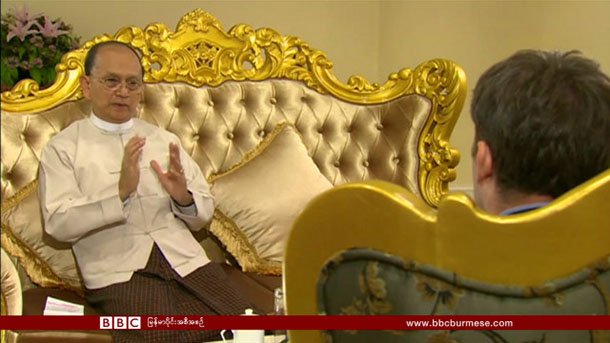 A screengrab of an interview by the BBC's Burma correspondent Jonah Fisher. (Photo: BBC Burmese)