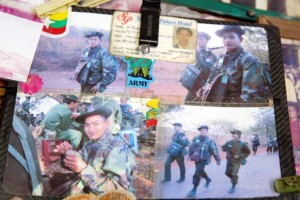 Photographs of Capt. Aung Kyaw Myint, who died during the recent conflict in Kokang Special Region. (Photo: JPaing / The Irrawaddy)