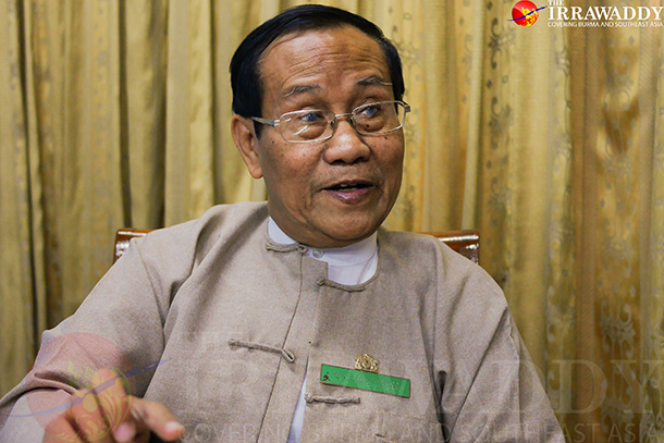 The chairman of the Rangoon Division Election Subcommission, retired Col. Ko Ko, speaks to The Irrawaddy on Tuesday. (Photo: Tin Htet Paing / The Irrawaddy)