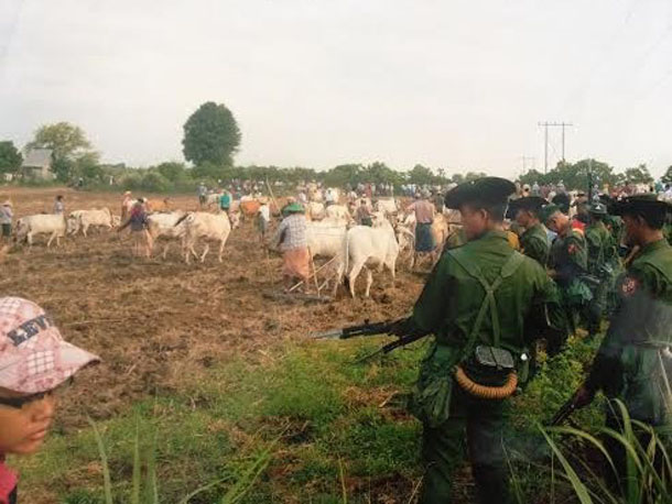 Farmers' protests against land grabs are becoming increasingly common in Burma. In May 2014, farmers in Sagaing Division's Kantbalu Township plowed land they claim has been confiscated from them, but Burma Army units and local authorities intervened. (Photo: FNI)
