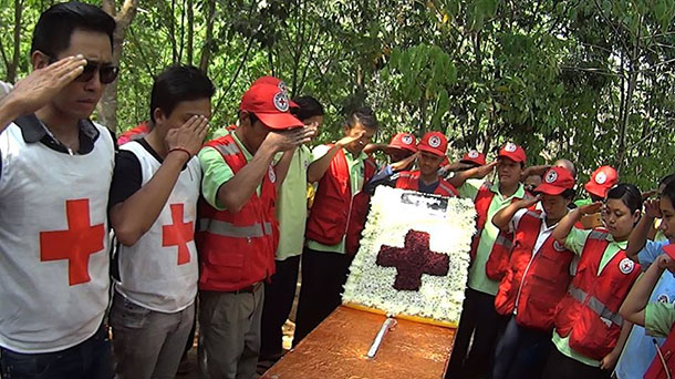 A funeral for 45-year-old Moe Kyaw Than was held on Sunday in Kunlong. (Photo: Facebook / Myanmar Red Cross Society)