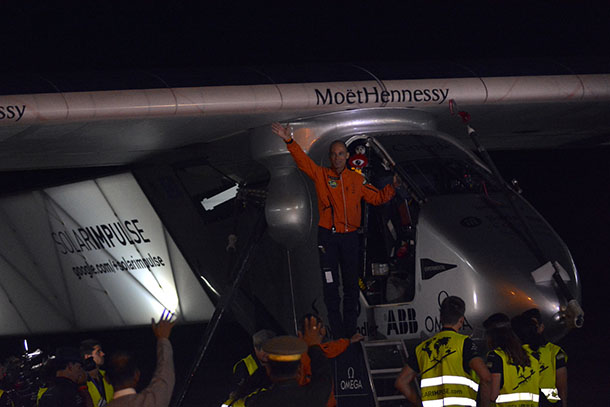 Bertrand Piccard, one of the French pilots, waves before departing from Mandalay with the Solar Impulse 2. (Photo: Teza Hlaing / The Irrawaddy)