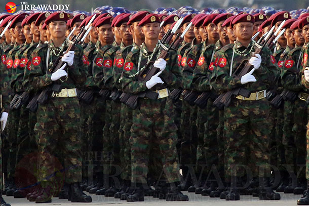 Troops on parade in Naypyidaw to mark Burma's 70th annual Armed Forces Day on Friday. (Photo: JPaing / The Irrawaddy)
