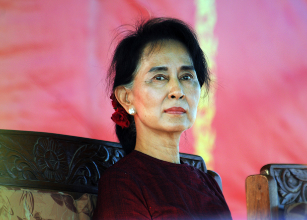 Opposition leader Aung San Suu Kyi attends a rally for constitutional reform in Loikaw, Karenni State, on Nov. 8, 2014. (Photo: Steve Tickner / The Irrawaddy)
